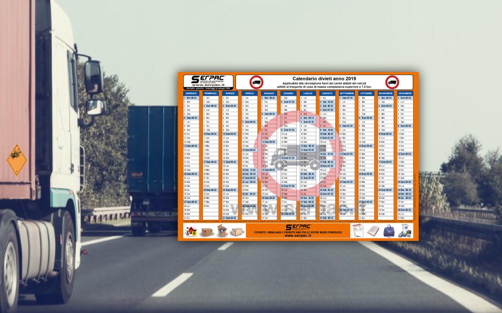 Calendario Divieto Circolazione Mezzi Pesanti.Trasporto Via Strada Adr Calendario Divieti Di Circolazione